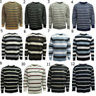 Mens Crew Neck Pull Over Full Sleeve Stripe Pattern Sweater Knitwear Jumper Knit