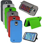 Credit Card Holder Hybrid Rubber Case Cover w/ Stand for Samsung Galaxy S4 i9500