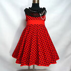 R3122 Red Black Dots Christmas Garden Party Girls Dress SIZE 2,3,4,5,6,7,8,9,10T