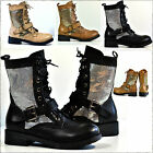 NEW Womens Faux Leather Metalic Net Lace Up Flat Military Combat Boots Size 3-8