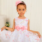 P188 Pink Floral Christening Wedding Party Flower Girls Dresses SIZE 5,6,7,8,10Y