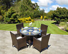 Rattan Round Dining Table Chairs Set Black Brown Garden Conservatory Furniture