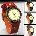 Fashion Women Lady Retro Bronze Case Rivet Roman Number Dial Quartz Wrist Watch