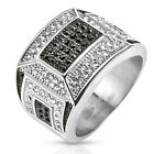 Stainless Steel Black and Clear Micro Paved CZs Mosaic Cast Men's Ring Size 9-13