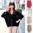 Womens V Neck Oversized Batwing Long Sleeve Knit Sweater Jumper Pullover New E