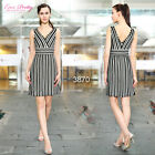 Ever Pretty 2014 New Arrival Lacey Double VNeck Striped Women Casual Dress 03870