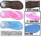 Ladies Wedge Mules Flip Flops Sandals Slippers Beach Summer Soft Eva Foam 3 to 8