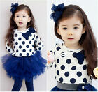 A B113 Christmas Blue L/S Tee + Tutu Skirt Legging Dresses Set SIZE 2-3-4-5-6-7T