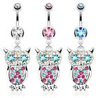 Surgical Steel Owl Dangle Belly Bar / Navel Ring with Assorted CZ Gems