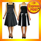 RK75 Pleated Black Polka Dot Summer Dress Rockabilly Swing Pin Up Retro 50s Bows