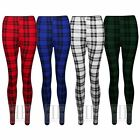 Womens Red Black Tartan Plaid Print Long Ankle Length Leggings (UK /AU 8-14) NEW