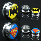 Batman Superman Stainless Steel Ear Plug Gauges Flesh Tunnel Stretcher Expander