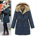 Fashion Womens Lady Fleece Hooded Jacket Warm Winter Trench Parka Coat Outerwear
