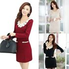 Women Faux Pearl Lace Collar Slim Long Sleeves Base Bottoming Dress Winter