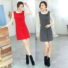 Ladies Winter Slim Woolen Sleeveless Vest Skirt Bowknot Dress Good Quality