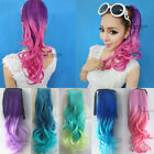 Fashion Girl Long Wavy Cosplay Colorful Ponytails Clip-in Hair Extensions KAP25