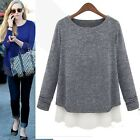 Womens Casual Loose Knitted Jumper Sweater Chiffon Hem Splicing Blouse Tops New