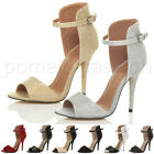 WOMENS LADIES HIGH HEEL CUFF ANKLE STRAP PARTY STILETTO SHOES SANDALS SIZE