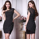 Ladies' One Shoulder Black Polka Dotted Chiffon Casual Summer Daily Dress 03873