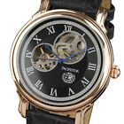 PACIFISTOR Police Men's Skeleton Mechanical Wrist Watch Black Brown Leather Gift