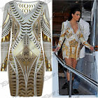 Womens Long Sleeves Ladies Celebrity Stretchy Gold Foil Aztec Bodycon Dress Top