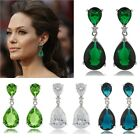 Celebrity Inspired Cubic Zirconia 18K Bride Formal Prom Dangle Stud Earrings