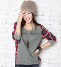 New Women T shirt Ladies Plaid Checked Long Sleeve Casual Loose Tops Blouse