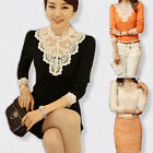 Hot Women White Lace Shirt Blouse Tops Lady Grace Style Stand Collar Long Sleeve