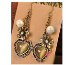 Fashion apair Cat's Eye Rhinestone Crystal Bronze Flower Earrings