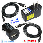 for ASUS MeMo Pad SMART ME172V Nexus7 AC Wall Adapter Data Cable Car Charger