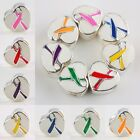 Wholesale Enamel Ribbons Cancer Awareness Hearts European Charms Beads Pink Red