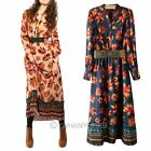 Women's Bohemia Maxi Chiffon Long Dress With Belt Long Sleeve Tops 2 Color