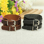 Mens Fashion Punk 2 Buckle Belt Cool Leather Bangle Bracelet Wristband Cuff Gift
