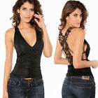 Women Sexy Tank Tops Ruffle V Neck with Embroidery Hollow Out Vest White Black