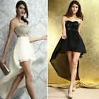 Evening Prom Ball Gown Party Cocktail Chiffon Wedding Long Dress Black Beige M L