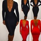 Lady's Deep V Low Cut Sexy Long Sleeve Bodycon Clubwear Evening Cocktail Dress