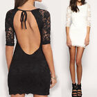 Sexy Women Lace Slim Cocktail Evening Mini Dress Backless Crew Neck 3/4 Sleeve