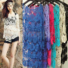 Women Embroidery Loose Blouse Tee Shirt Knit Crochet Lace Top Pullover Knitwear