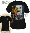 AMERICA'S FINEST EAGLE MOTORCYCLE RIDING GEAR BLACK GRAPHIC PRINTED T-SHIRT TEE
