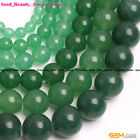 "Beauty round green aventurine jade gemstone jewelry making beads 15""  select"
