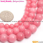 "Round Coral-Pink Jade Stone Beads For Jewelry Making 15"" Jewelry Beads in Bulk"