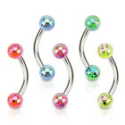 316L Surgical Steel Curved Eyebrow Barbell with Color Splashed Acrylic Balls