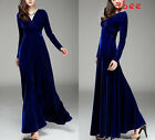 Hot Womens Retro Pinup Velvet V Neck stretch Party Cocktail Evening Long Dress