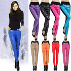Sexy Fashion Women Splice Winter Warm Imitation Down Thick Leggings Pants Tights