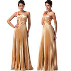 NEW Ladies One Shoulder Wedding Party Ball Prom Evening Long Maxi Princess Dress