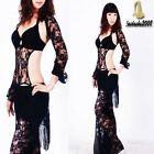 NEW belly dance costume 4pc set bra pants sleeve hip scarf outfit lacy
