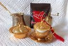 Turkish Coffee,Porcelain Zamac Cup,Copper Cezve Bowl Mill Crescent Lids Gold