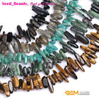 "Fashion freeform stick gemstone jewelry making beads strand 15"" 44 materials"