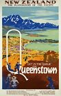TR9 Vintage Queenstown New Zealand Travel Poster Re-Print A1/A2/A3/A4