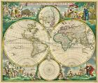 MP5 Vintage Nova Orbis Tabula  1670 World Map Poster Re-Print  A1 A2 A3